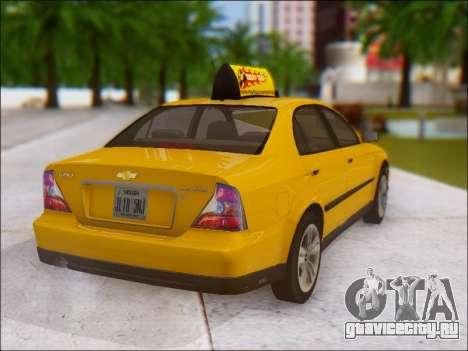 Chevrolet Evanda Taxi для GTA San Andreas вид сзади