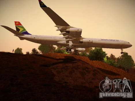 Airbus A340-600 South African Airways для GTA San Andreas вид сзади