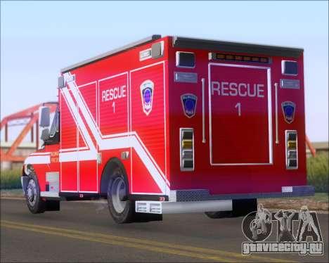 Pierce Commercial TFD Rescue 1 для GTA San Andreas вид сзади слева