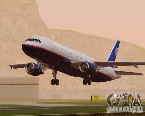 Airbus A320-232 United Airlines (Old Livery) для GTA San Andreas двигатель