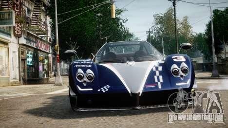 Pagani Zonda Tricolore для GTA 4 вид сзади