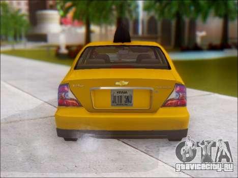 Chevrolet Evanda Taxi для GTA San Andreas вид справа