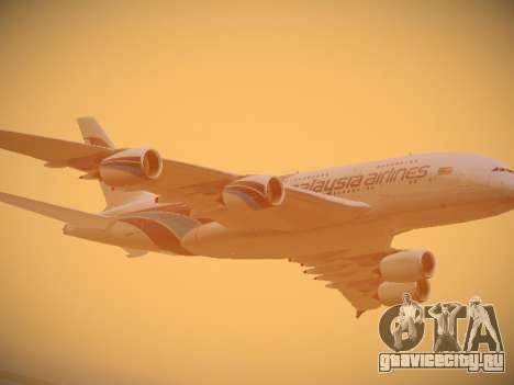 Airbus A380-800 Malaysia Airlines для GTA San Andreas вид сверху