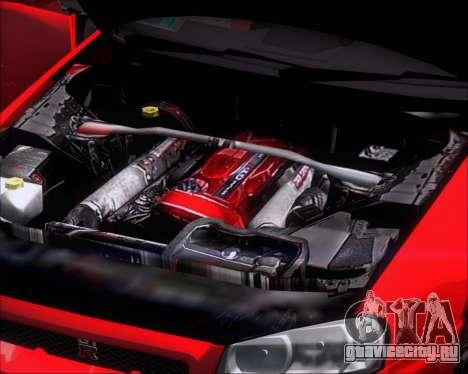 Nissan Skyline GT-R R34 V-Spec II для GTA San Andreas вид изнутри