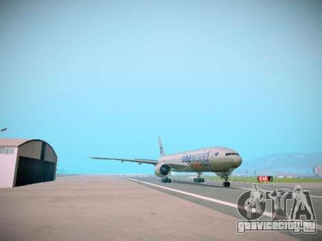 Boeing 777-223ER American Silver Bullet для GTA San Andreas вид сзади слева