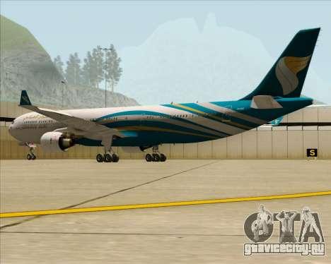 Airbus A330-300 Oman Air для GTA San Andreas вид сзади