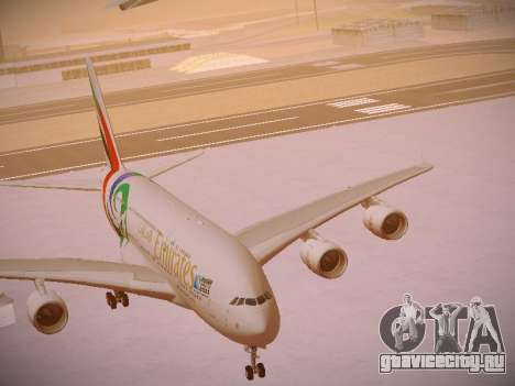 Airbus A380-800 Emirates Rugby World Cup для GTA San Andreas вид снизу