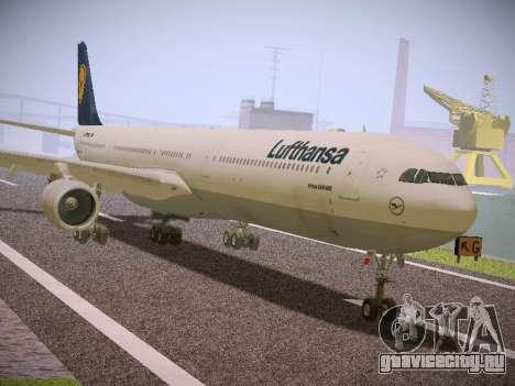Airbus A340-600 Lufthansa для GTA San Andreas вид сзади слева