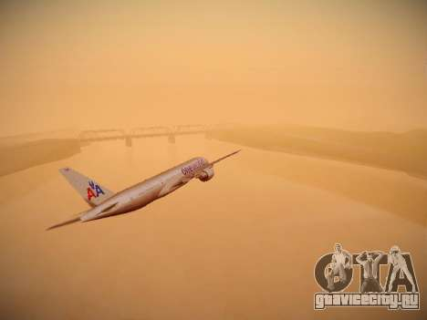 Boeing 777-223ER American Silver Bullet для GTA San Andreas вид изнутри