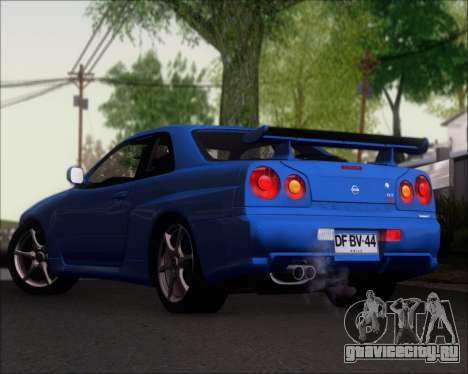 Nissan Skyline GT-R R34 V-Spec II для GTA San Andreas вид сзади слева