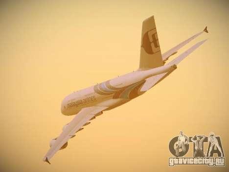 Airbus A380-800 Malaysia Airlines для GTA San Andreas вид изнутри