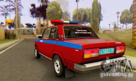 ВАЗ 2107 Полиция для GTA San Andreas вид сзади слева