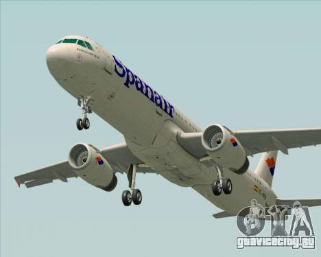Airbus A321-231 Spanair для GTA San Andreas вид снизу
