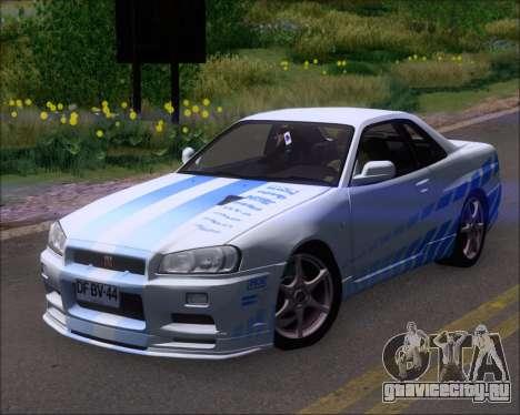 Nissan Skyline GT-R R34 V-Spec II для GTA San Andreas салон