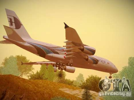 Airbus A380-800 Malaysia Airlines для GTA San Andreas вид сзади