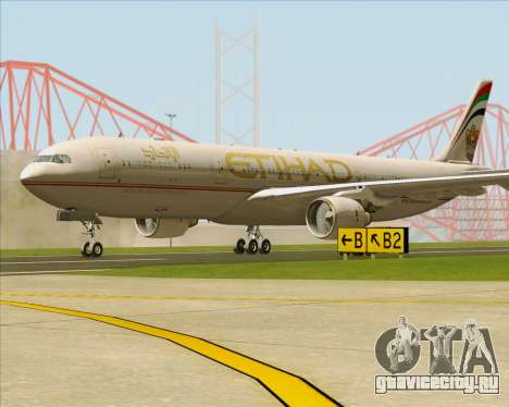 Airbus A330-300 Etihad Airways для GTA San Andreas вид сзади слева