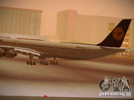 Airbus A340-600 Lufthansa для GTA San Andreas вид сзади