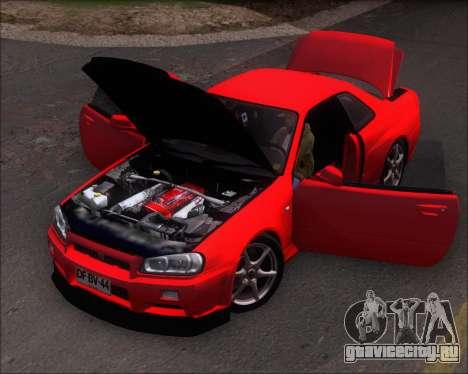 Nissan Skyline GT-R R34 V-Spec II для GTA San Andreas вид сзади
