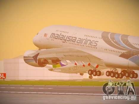 Airbus A380-800 Malaysia Airlines для GTA San Andreas вид сбоку