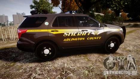 Ford Explorer 2013 Sheriff [ELS] Virginia для GTA 4 вид слева
