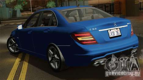 Mercedes-Benz C63 AMG Sedan 2012 для GTA San Andreas вид сбоку