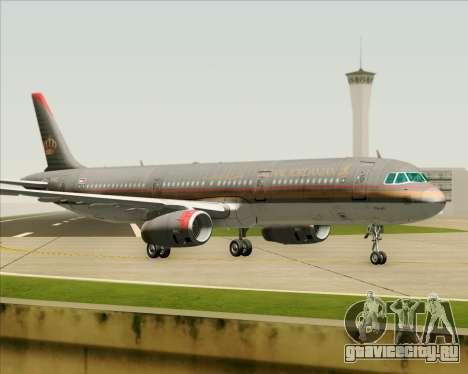 Airbus A321-200 Royal Jordanian Airlines для GTA San Andreas вид сзади слева
