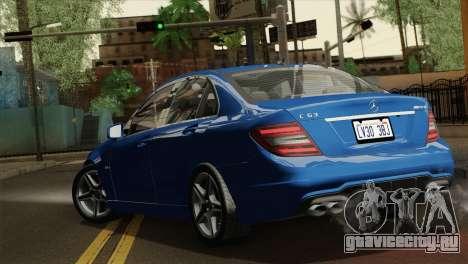 Mercedes-Benz C63 AMG Sedan 2012 для GTA San Andreas вид слева