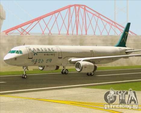 Airbus A321-200 Hansung Airlines для GTA San Andreas вид сзади слева