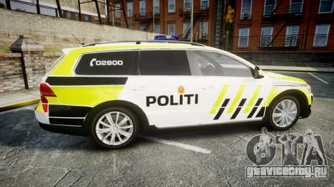 Volkswagen Passat 2014 Marked Norwegian Police для GTA 4 вид слева