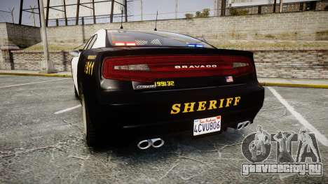 GTA V Bravado Buffalo LS Sheriff Black [ELS] Sli для GTA 4 вид сзади слева