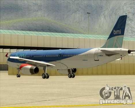 Airbus A321-200 British Midland International для GTA San Andreas вид снизу