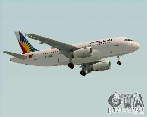 Airbus A319-112 Philippine Airlines для GTA San Andreas вид сзади слева
