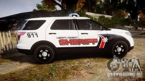 Ford Explorer 2013 LC Sheriff [ELS] для GTA 4 вид слева