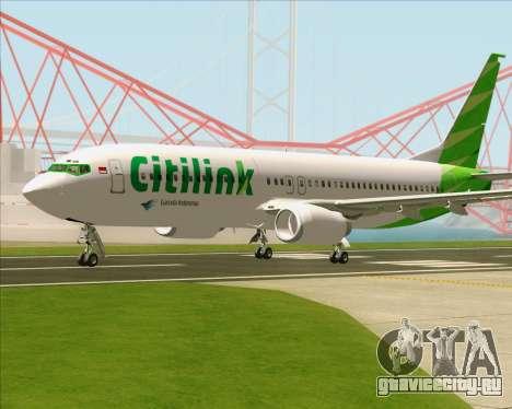 Boeing 737-800 Citilink для GTA San Andreas вид сзади