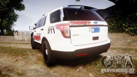 Ford Explorer 2013 LC Sheriff [ELS] для GTA 4 вид сзади слева