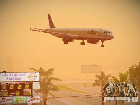 Airbus A321-232 jetBlue Blue Kid in the Town для GTA San Andreas вид изнутри