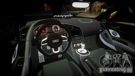 Audi R8 2010 Rotiform BLQ для GTA 4 вид изнутри