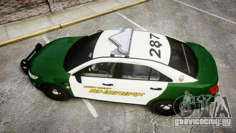 Ford Taurus 2014 Liberty City Sheriff [ELS] для GTA 4 вид справа