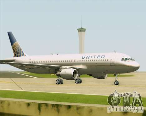 Airbus A320-232 United Airlines для GTA San Andreas вид сзади слева