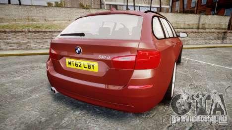BMW 530d F11 для GTA 4 вид сзади слева