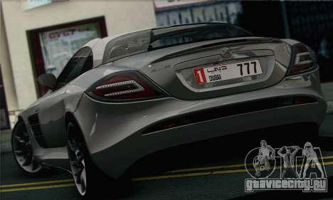 Mercedes-Benz SLR McLaren для GTA San Andreas вид сзади слева