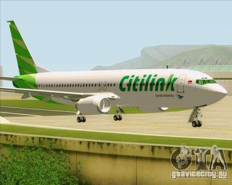Boeing 737-800 Citilink для GTA San Andreas вид сзади слева