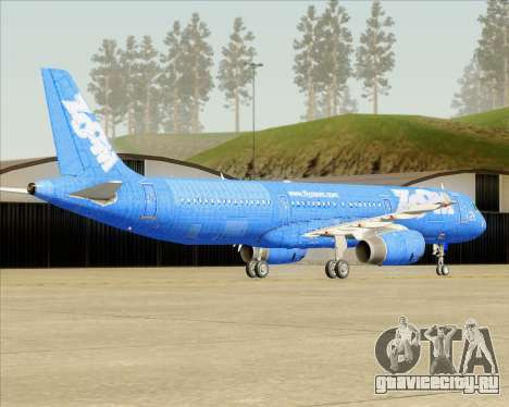 Airbus A321-200 Zoom Airlines для GTA San Andreas вид сзади слева