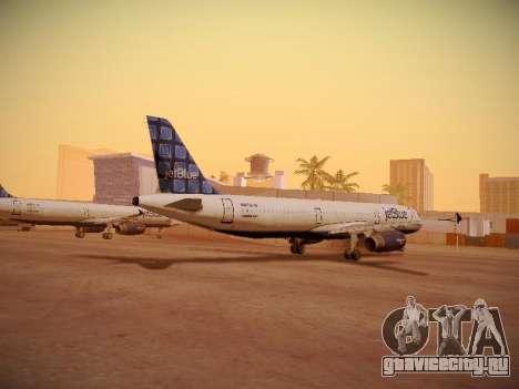 Airbus A321-232 jetBlue Blue Kid in the Town для GTA San Andreas вид сзади слева