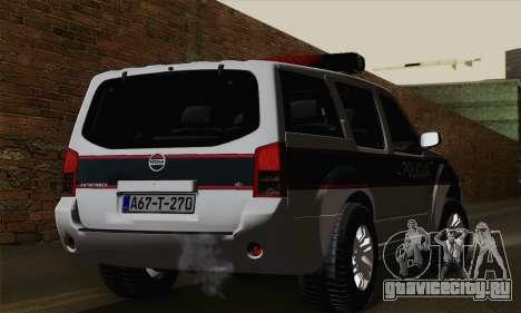 Nissan Pathfinder Policija для GTA San Andreas вид слева