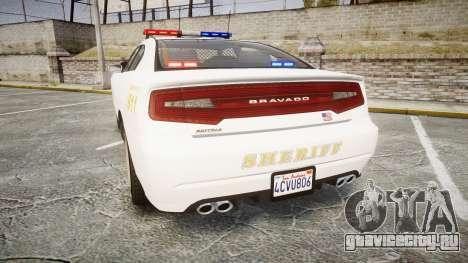 GTA V Bravado Buffalo LS Sheriff White [ELS] для GTA 4 вид сзади слева