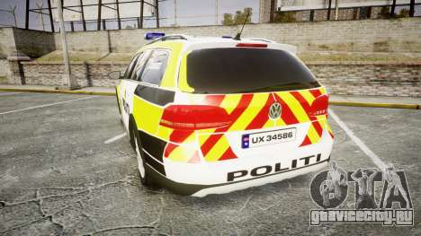 Volkswagen Passat 2014 Marked Norwegian Police для GTA 4 вид сзади слева