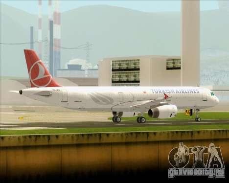 Airbus A321-200 Turkish Airlines для GTA San Andreas вид сзади слева