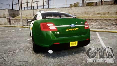 Ford Taurus 2014 Liberty City Sheriff [ELS] для GTA 4 вид сзади слева