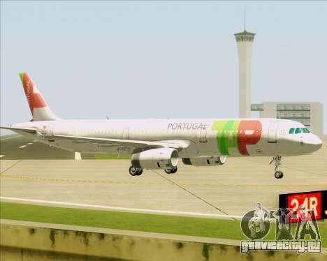 Airbus A321-200 TAP Portugal для GTA San Andreas вид сзади слева